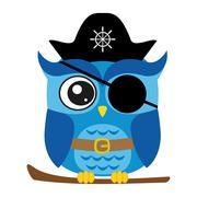 Nice pirate owl cartoon style - stock illustration