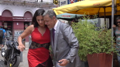 Two people dance Tango, Montevideo old historic town, Uruguay - stock footage