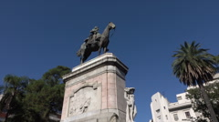 Plaza Zabala, Montevideo old historic town, Uruguay - stock footage