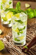 Homemade Alcoholic Mojito with LIme - stock photo