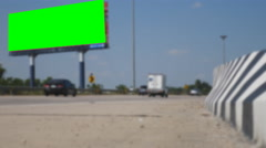 Green screen billboard with Traffic on high way road with blue sky Stock Footage
