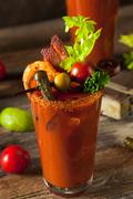 Homemade Bacon Spicy Vodka Bloody Mary Stock Photos