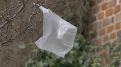 Plastic bag flapping in wind - no color grading Stock Footage