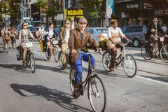 Toronto, Canada - September 20, 2014: Unidentified participants of Tweed Ride Stock Photos