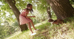 Cute Multi-ethnic girl playing sticks with her puppy in a park - stock footage