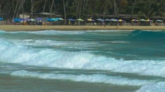 Big waves hitting a tropical Caribbean beach in slow motion Stock Footage