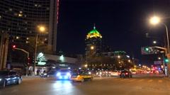 Road traffic at the Chaoyangmen street at night. Beijing, China Stock Footage