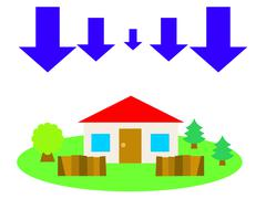 Flat vector illustration of a house in the countryside and down arrows - stock illustration