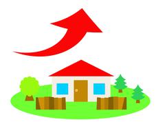 Flat vector illustration of a house in the countryside and up arrow - stock illustration