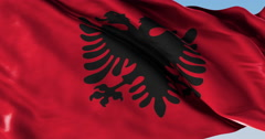 Ultra realistic looping flag: Albania - stock footage