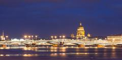 Annunciation bridge, St. Isaac's Cathedral, night  Saint- Petersburg, Russia Stock Photos