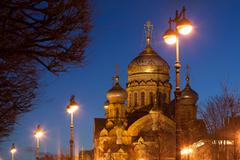 Dormition Orthodox Cathedral on Vasilievsky island in St. Petersburg night - stock photo