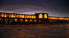 Old Khajoo bridge, across the Zayandeh River in Isfahan, Iran. Stock Footage