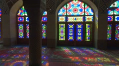 Nasir Al-Mulk Mosque in Shiraz, Iran. Pink Mosque Stock Footage