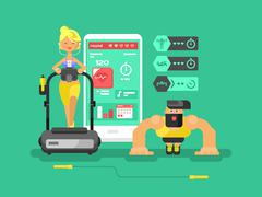 Stock Illustration of Ffitness app man and woman flat design