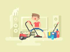 Boy cleaning house - stock illustration