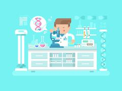 Genetics doctor man - stock illustration