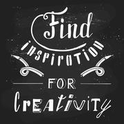 Find inspiration for creativity. Hand drawn lettering - stock illustration