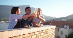 Young Adults having meet on a after work rooftop party Stock Footage