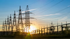 Sunset at power plant - stock footage