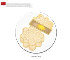 Moon Cake or Chinese Round Pastry for Mid-Autumn Festival - stock illustration
