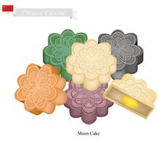 Stack of Chinese Moon Cake for Mid Autumn Festival - stock illustration
