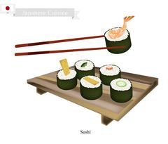 Japanese Nori Roll, A Popular Dish in Japan Stock Illustration