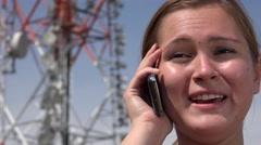 Female Talking On Cell Stock Footage