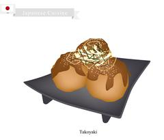 Takoyaki or Japanese Octopus Balls with Worcester Sauce and Mayonnaise Stock Illustration