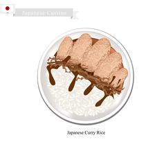 Japanese Curry and Tonkatsu with Steamed Rice - stock illustration