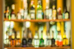 Defocus of beverage and alcohol on shelf - stock photo