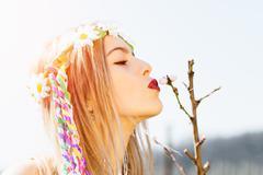 Kiss a flower bud Stock Photos