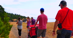 4K View of West Coast, Trail Cliffs, Family with Children and Stroller Stock Footage