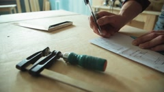 Construction drawing on paper Stock Footage