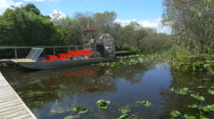 Stock Video Footage of Airboat tour in beautiful Everglades swamp wilderness