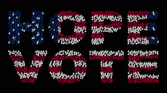 "Hands gathered together to form the text ""HOPE VOTE with colors USA flag Stock Footage"
