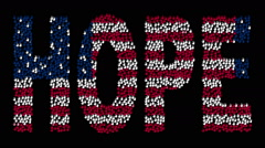 "Hands gathered together to form the text ""HOPE"" with colors USA flag Stock Footage"