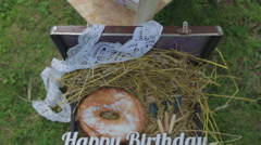 Happy birthday rustic style Stock Footage