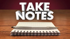 Take Notes Remember Meeting Lecture Reminder Important Information - stock footage