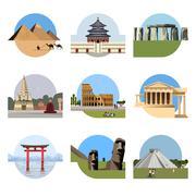 World landmarks flat icon set Stock Illustration