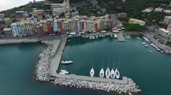 Aerial Video of the Pier With Yachts and Small Town of Portovenere in Italy Stock Footage