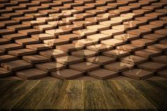 Tile roof texture surface vintage style with Wood terrace and world map - stock photo