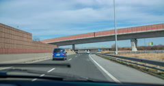 Driving on a motorway under a few bridges Stock Footage