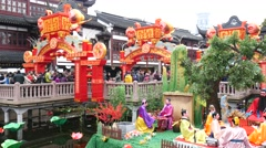 Shanghai,China:Febuary 04,2016:Lantern Festival in the Chinese Lunar New Year - stock footage
