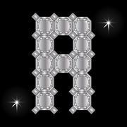 Metal letter R. Gemstone. Geometric shapes Stock Illustration