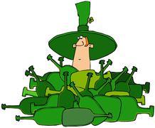 Leprechaun in a pile of bottles Stock Illustration