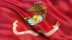4K United States of America Marine Corps flag waving in the wind - stock footage
