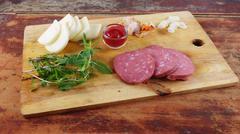 Breakfast closeup, sausage,cheese and tomato sauce Stock Photos