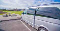 Parking a van in a motorway lay-by and getting out of it Stock Footage