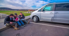 Resting in a motorway lay-by Stock Footage